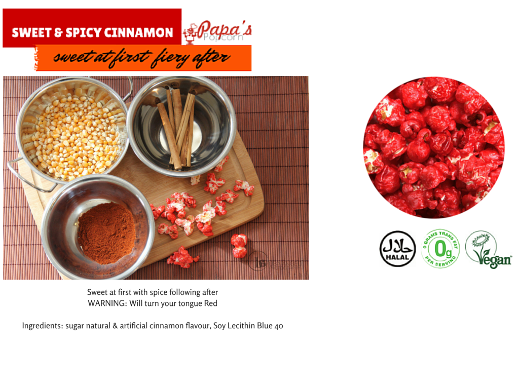 Sweet at first with spice following after.  WARNING: Will turn your tongue Red Ingredients: sugar natural & artificial  raspberry flavour Lecithin Blue no. 1